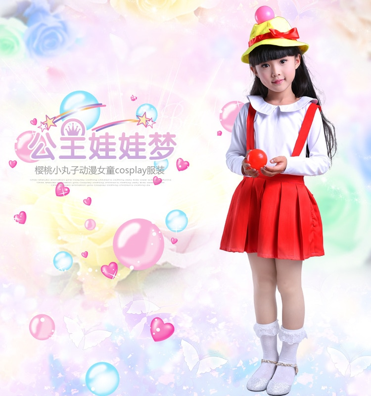 2017 Chibi Maruko Chan Heroine Sakura Momoko mulher traje cosplay vestido anime cosplay para mulheres e menina