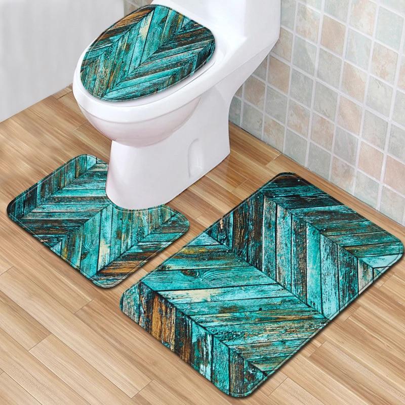 Nueva alfombra verde para baño de 3 piezas, Set de alfombrilla antideslizante para inodoro + alfombrilla de baño, alfombrilla estampada de moda para decoración del hogar, Dropshipping