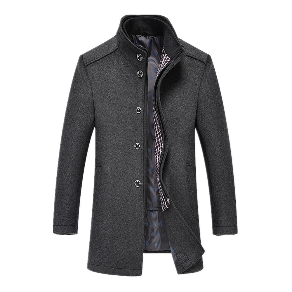 معطف صوف رجالي لخريف وشتاء 2018, معطف رجالي طويل من الصوف ، بياقة سميكة بدون أكمام ، جاكيت بليزر طويل للرجال