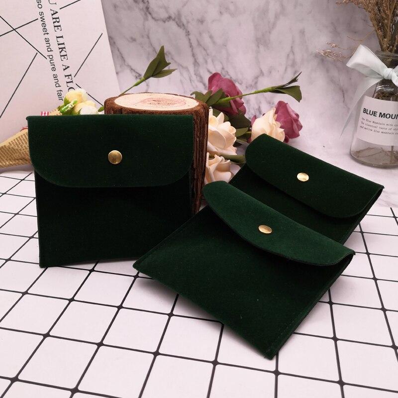 Bolsa de terciopelo de joyería verde oscura con hebilla oscura Bolsa De sobre para embalaje de joyería de boda 8x8 11x11cm terciopelo negro de doble cara