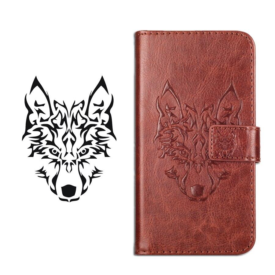 Funda GUCOON Wolf para Digma LINX Atom 3G, funda tipo billetera para teléfono Digma Atom 3G