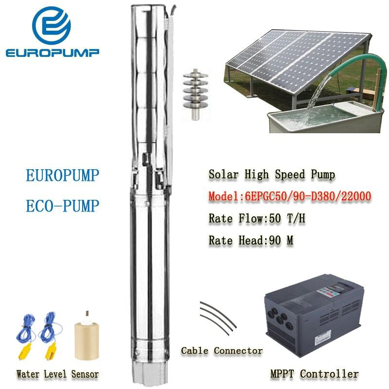 "EUROPUMP bomba Solar de alta potencia 6 pulgadas 30HP salida 4 ""elevación 90M flujo 50000LPH alta velocidad AC/DC bomba Modelo (6EPGC50/90-D380/22000)"
