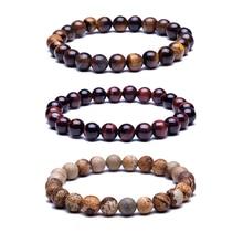Perles de pierre naturelle Bracelets de haute qualité oeil de tigre bouddha lave perles rondes élasticité corde Bracelets pour femme et hommes bijoux
