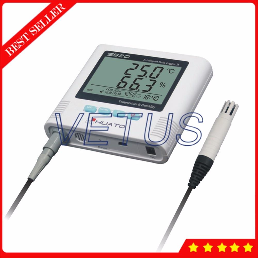 S520-EX 3 metros Sensor Enternal USB registrador de datos de temperatura y humedad con función de alarma de luz de sonido integrada