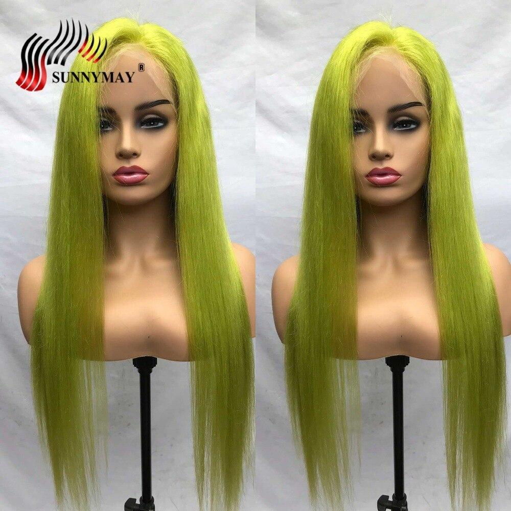 Pelucas de cabello humano de encaje verde sunnymayo pelo Remy brasileño recto Peluca de encaje completo transparente con pelo de bebé