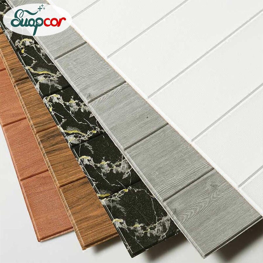 Auto adesivo 3d papel de parede pe espuma padrão de madeira adesivos de parede para o quarto crianças quarto teto adesivos decoração da parede à prova dwaterproof água