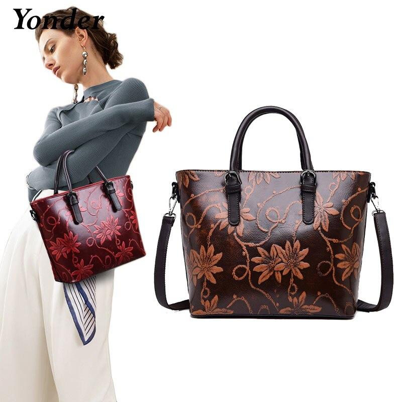 Yonder marca de couro genuíno bolsa feminina ombro crossbody saco feminino floral impressões tote senhoras mensageiro sacos bolsa vermelho