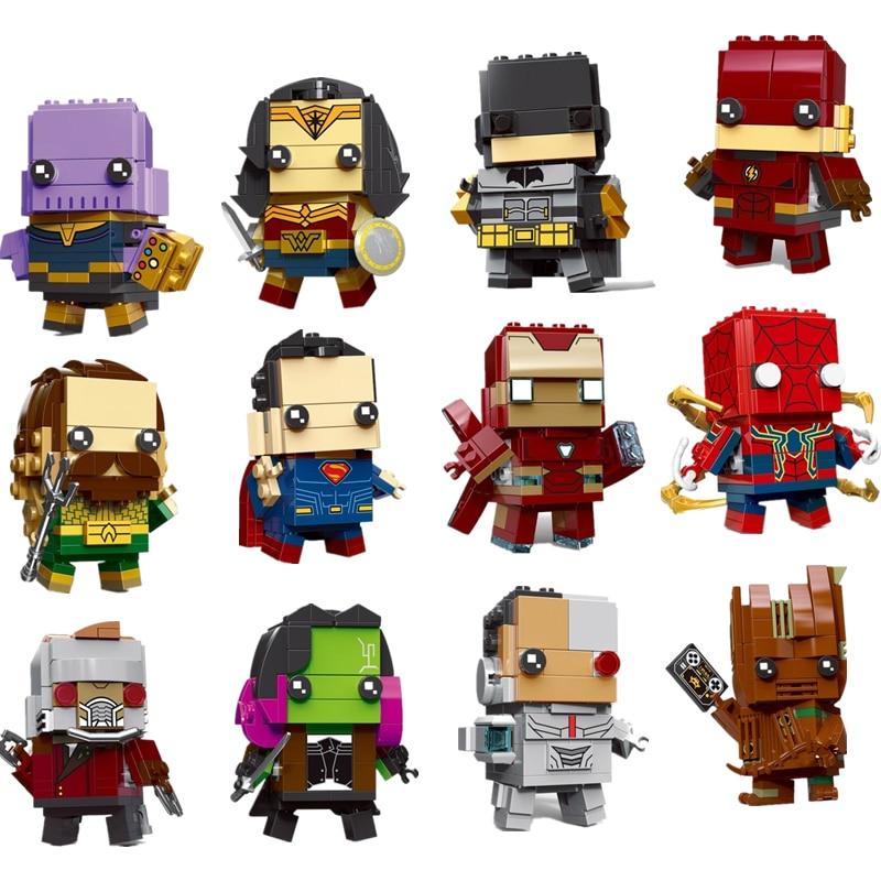 Новый brickheadz Рождество Лига Справедливости Супер Герои Халк танос строительные блоки кирпичи игрушки