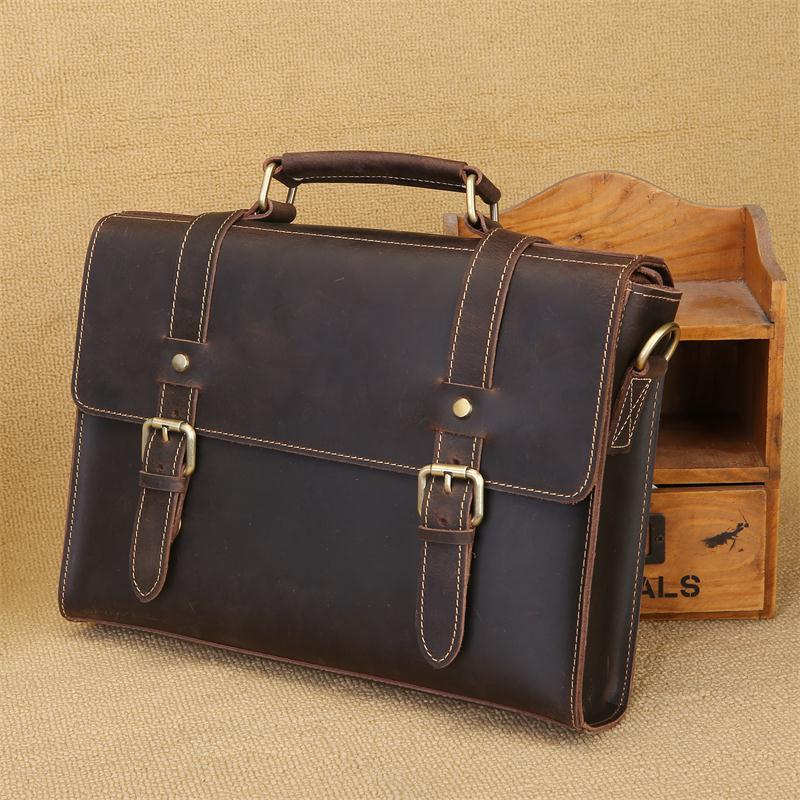 Oyixinger Fashion Cowhide Male Laptop Briefcase Leisure Genuine Leather Men's Briefcases For Ipad Air Mini Notebook Computer Bag