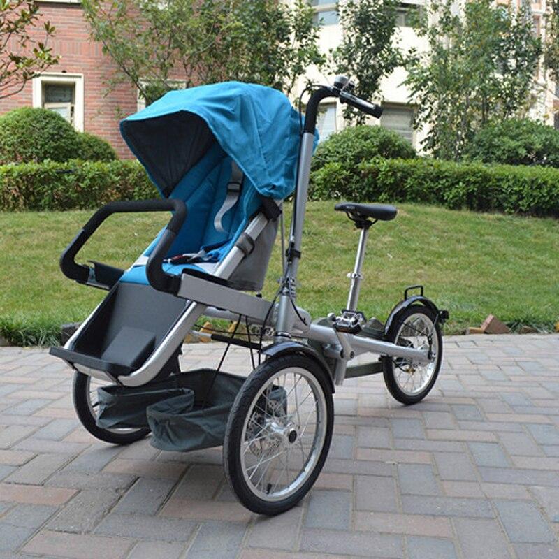 2017 Hot Verkopen Baby En Mama Fiets Trolley 3 Wiel Baby Boy Meisjes Kinderwagen Kinderwagens Kids Opvouwbare Kinderwagens 2 In 1 Kinderwagens Blauw **