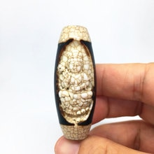 Rare Old Tibet Natural Agate pray Dzi Bead Mahakala buddha statue Amulet pendant