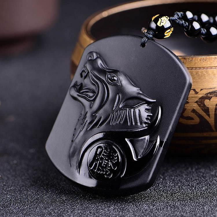 Neue Schwarz Obsidian Carving Wolf Kopf Obdidian Amulett Anhänger Kostenloser Halskette Obsidian Segen Glück Anhänger Männer Schmuck