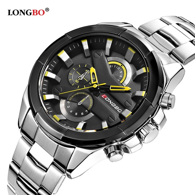 Мужские наручные часы LONGBO, роскошные повседневные кварцевые наручные часы из нержавеющей стали, 2019