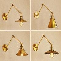 Designer Style Rh American Rural Indoor Retro Bronze Rural Western Loft Decorative Golden Vintage Led Wall Lamp Light Lampshade