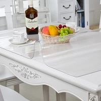 plastic soft glass pvc tablecloth waterproof anti scalding oilproof table mat transparent wooden table decoration protection mat