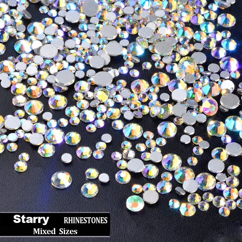 300 Uds mezcla de tamaños de Cristal AB Glitter 3D uñas de diamantes de imitación no Hotfix Flatback piedras de cristal DIY manicura arte gemas decoraciones