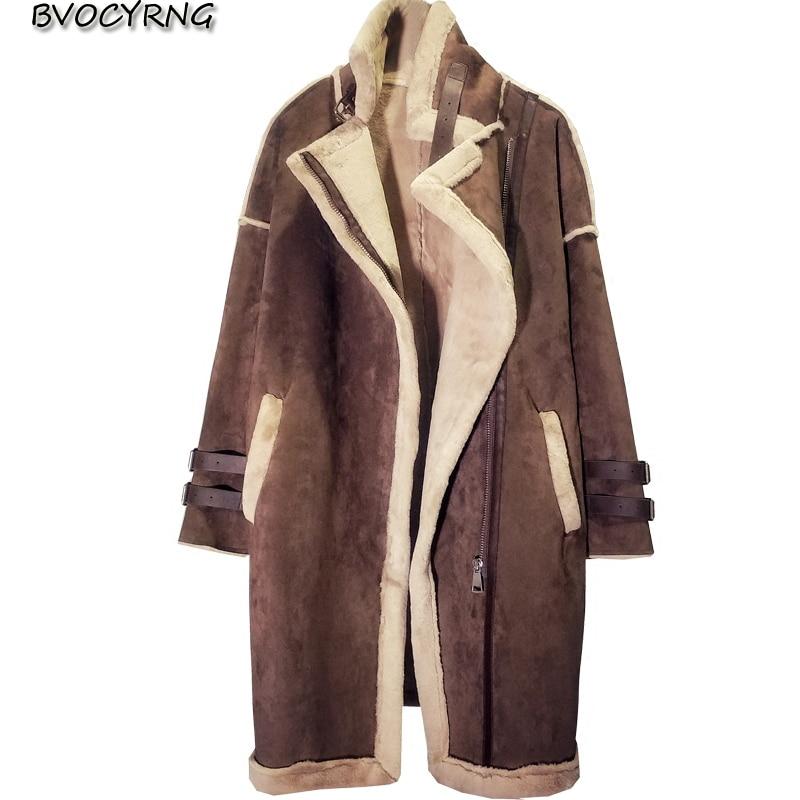 Nova coreia do inverno grosso cordeiros lã casaco feminino high-end meninas deerskin longo quente parka feminino grandes jardas lazer outerwear a0104