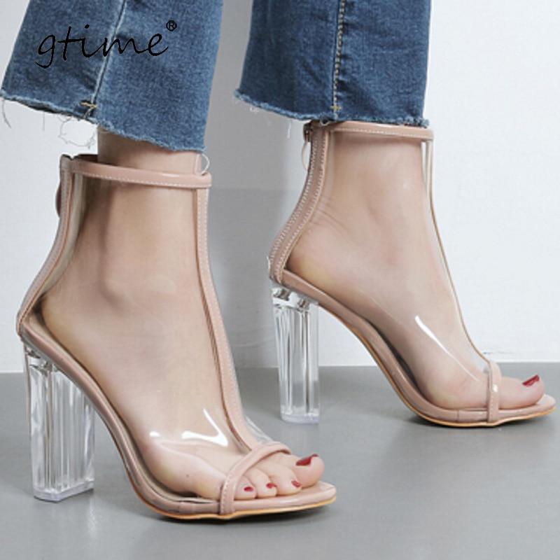 Gtime PVC Clear Heel Transparent Shoe Peep Toe Ankle Boots Bootie High Top Perspex Lucite Summer Sandals Block Heel Pumps ZWS209