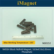 10 قطعة N45SH كتلة سوبر قوية نادرة الأرض مغناطيس النيوديميوم ، 16.9x4.53x1.05 مللي متر ، مكعب ندفيب المغناطيس ، المغناطيس للثلاجة