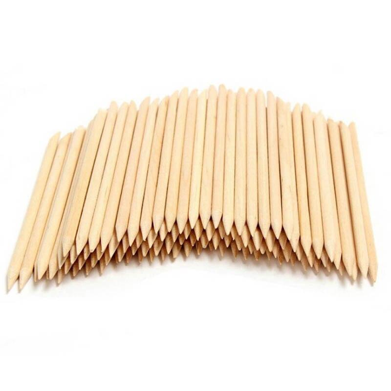 Palillos empujador de cutícula removedor de cutícula para uñas removedor de piel herramientas de uñas angulada de doble cara naranja bastón de madera 10 unids/set 11,5 cm