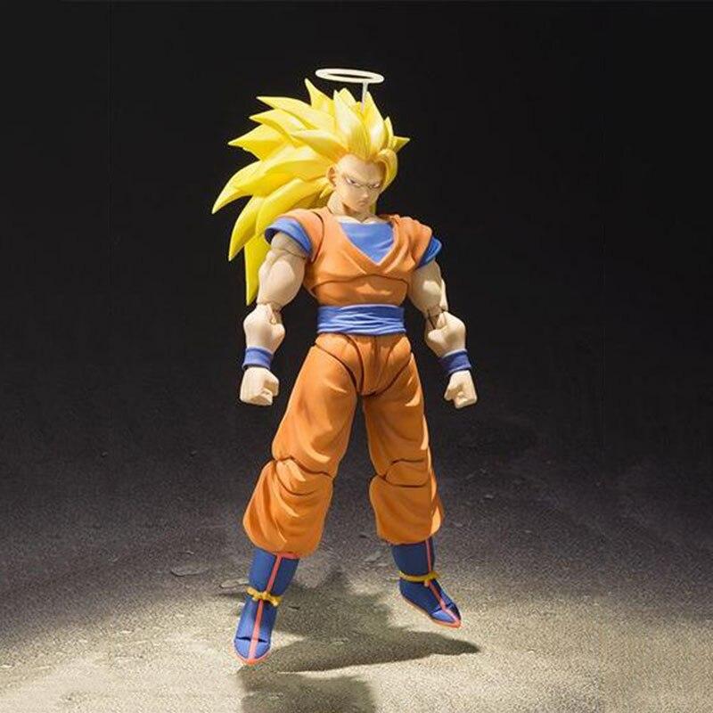 16cm Anime Dragon Ball Z DBZ Super Saiyan Son Goku móvil PVC Modelo figura de acción pelo amarillo niños regalos de disfraz muñeca de juguete