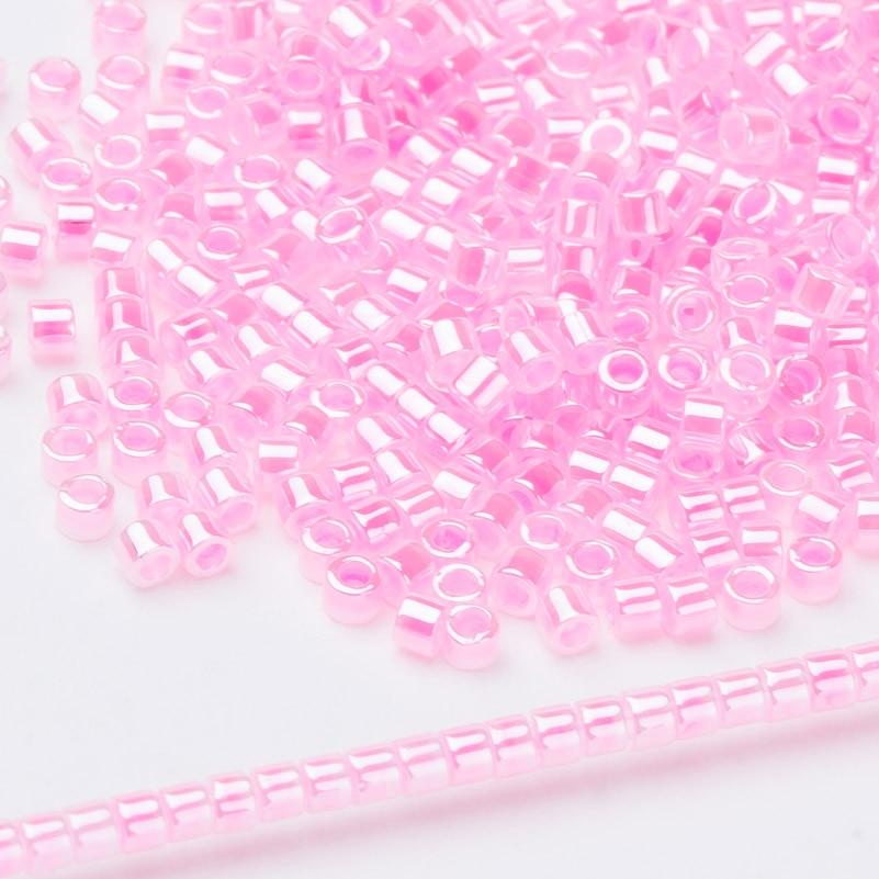 Cuentas de semillas japonesas rosa claro, cuentas de Ceilán Delica para abalorios DB246 11/0 1,6mm, 5 gramos por bolsa, 1000 unidades