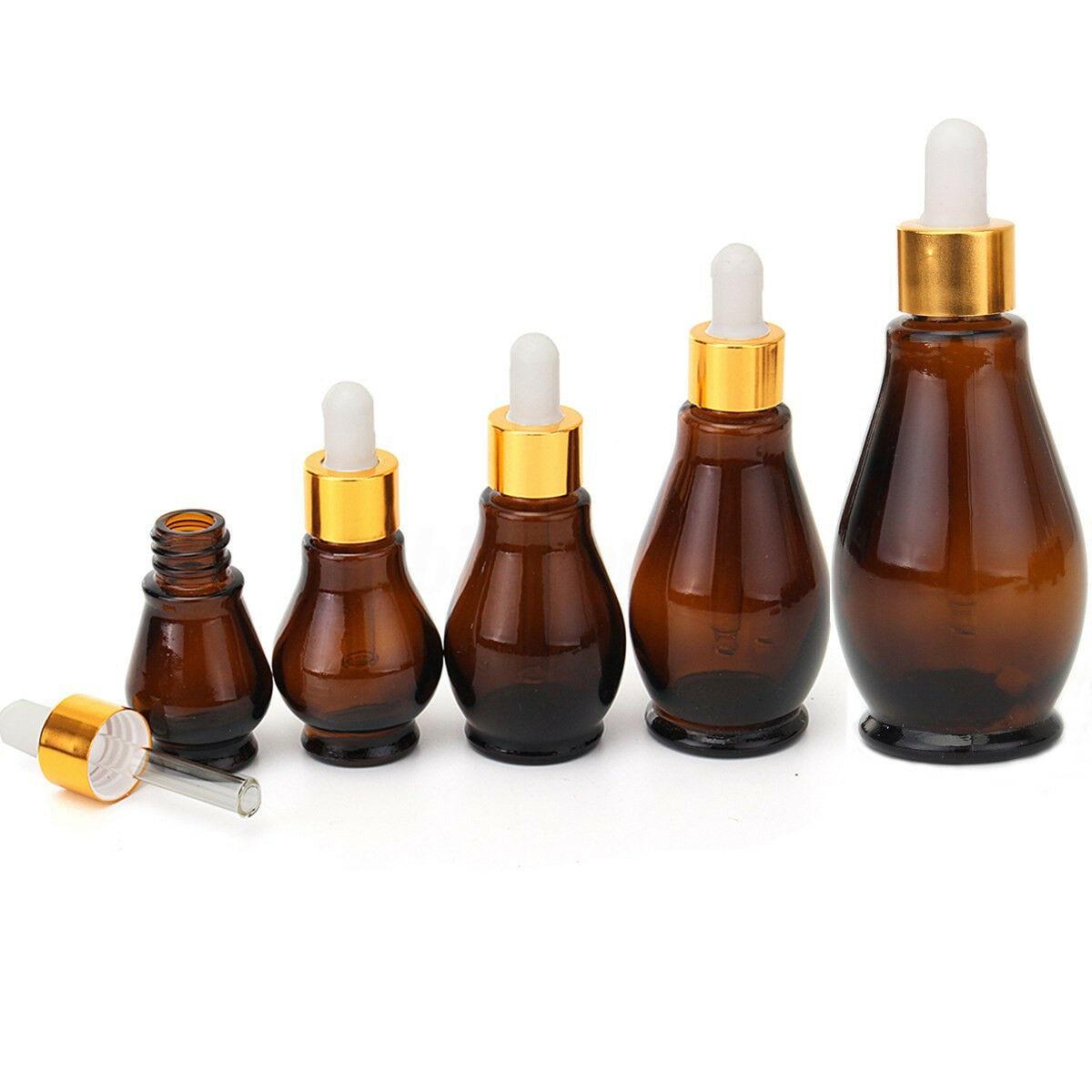 1 pces 10/20/30/50/100ml tampa de ouro vazio vidro âmbar garrafas conta-gotas de cabaça óleo essencial aromaterapia pipeta recipientes recarregáveis