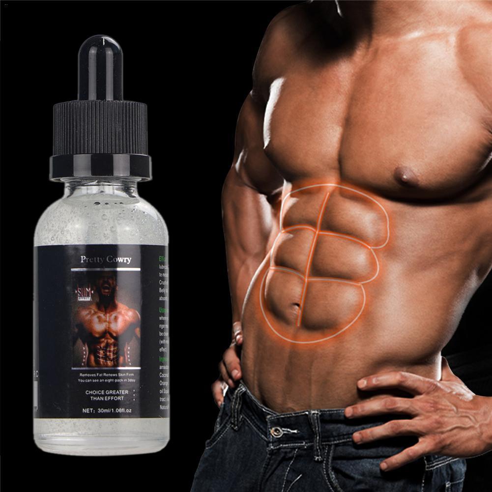 Aceite esencial para músculos abdominales de gran alcance, 30ML, para hombres, músculo más fuerte, paquete de ocho anticelulítica crema, aceite para perder peso, para quemar grasa, 40P