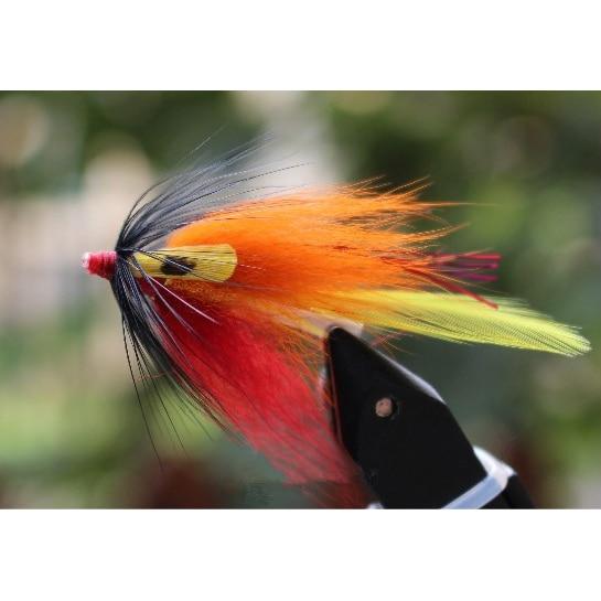 Tigofly 24 unids/lote, cuerpo naranja, tubo de cola amarilla, mosca serpentina, salmón, trucha, cabeza de acero, Mosca de Pesca, Señuelos
