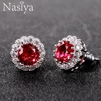 fashion new earring style 2018 real 925 sterling silver fine jewely womens ruby stud earrings wedding party jewerly for girl