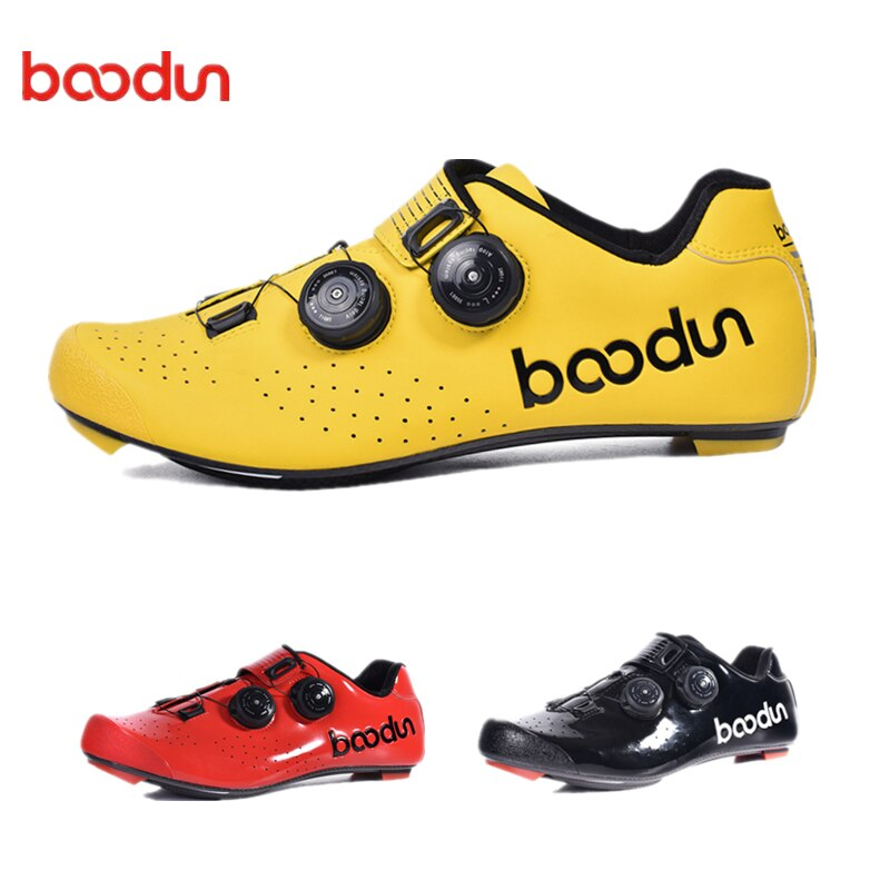 BOODUN, nuevos zapatos ultraligeros para ciclismo, zapatos de fibra de carbono con bloqueo automático Pro para bicicleta, zapatillas deportivas transpirables para correr en bicicleta para hombres