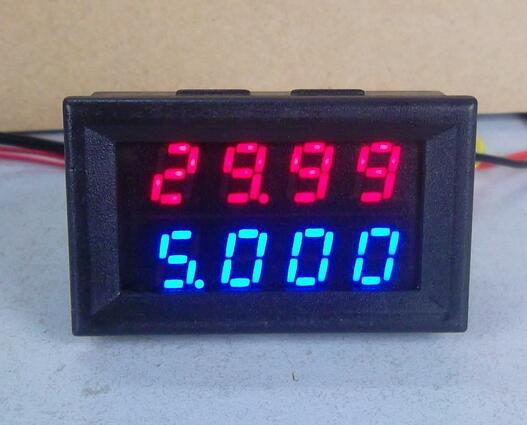 Voltímetro Digital DC amperímetro DC 200V 10A medidor de corriente de voltaje fuente de alimentación DC4V-28V pantalla doble LED azul rojo