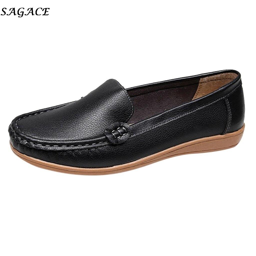 SAGACE, novedad de 2019, zapatos planos de moda para mujer, zapatos casuales sin cordones de cuero para mujer, zapatos transpirables cómodos para andar en barco #30