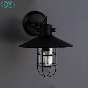 AC100-240V Black Metal Lampshade Wall lights Protected Wall Sconces Warehouse bar restaurant Adjustable wall ceiling mount lamp