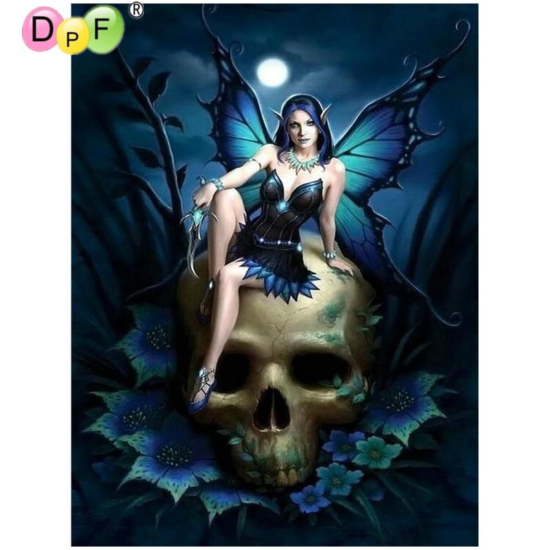 DPF, pintura de diamante de punto de cruz para mujer, bordado de calavera de diamante, mosaico de diamantes cuadrado completo, artesanías, bordado hecho a mano