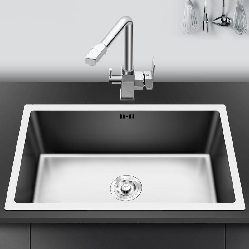حوض مطبخ 304 من الفولاذ المقاوم للصدأ وعاء واحد تجفيف تجفيف المصارف غسل كبير أطباق undermount اليدوية نحى سلس
