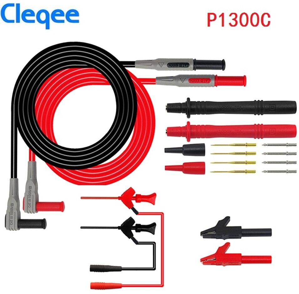 Cleqee P1300B P1300C 12-en-1 Super multímetro sonda reemplazable abrazadera Multi medidor de prueba kits de plomo + pinzas de cocodrilo