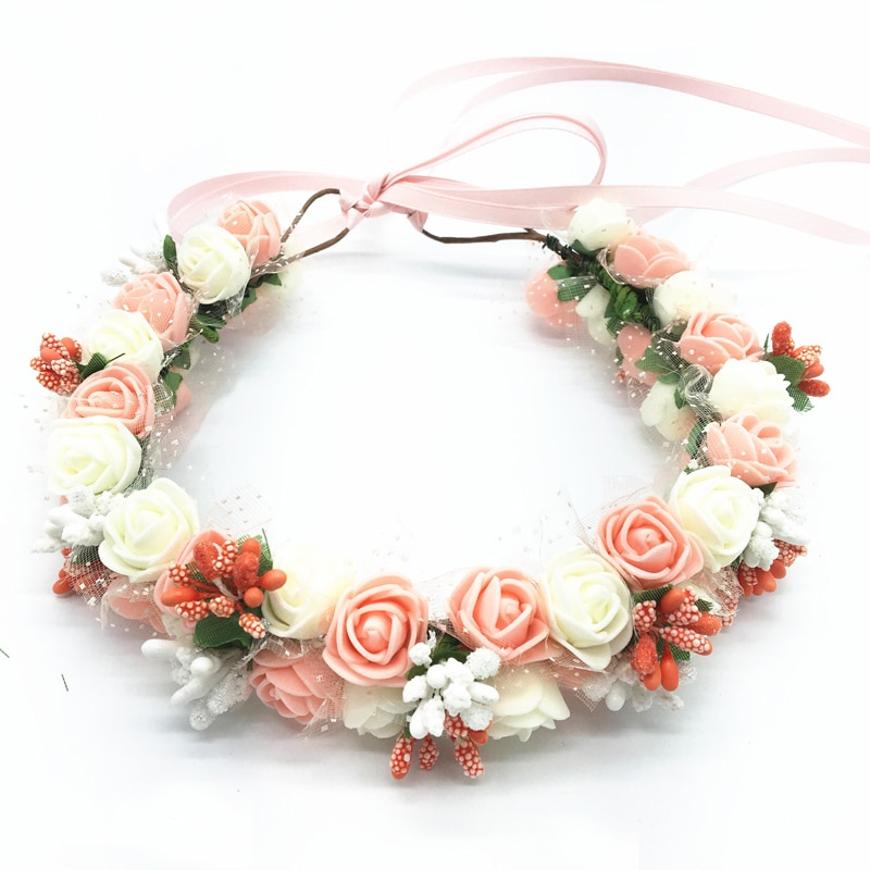 Small Rose Flower Crown Floral Headband Garland Women Girls Hair Accessories Bride Wedding Flower Wreath Wedding headdress