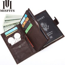 MISFITS Genuine Leather Men Wallet Travel Passport Cover for Male Organizer Large Capacity Passport