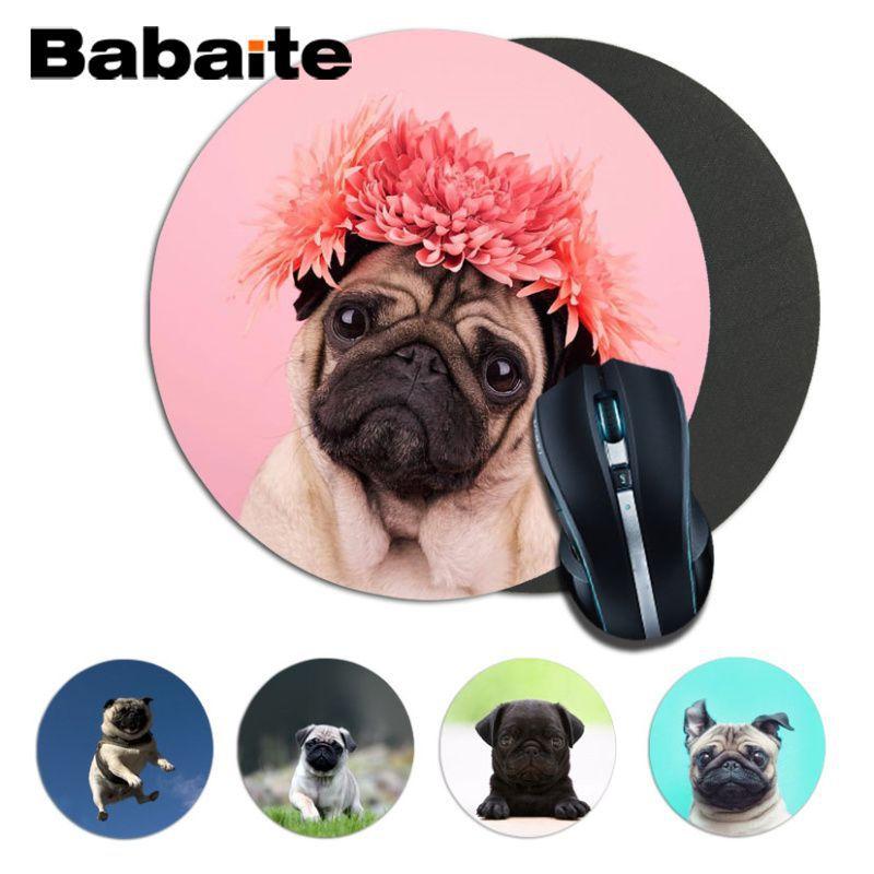Babaite-alfombrilla de ratón redonda de pug, tamaño 20x20CM 22x22cm, Versión Rápida, juegos alfombrillas para el ratón