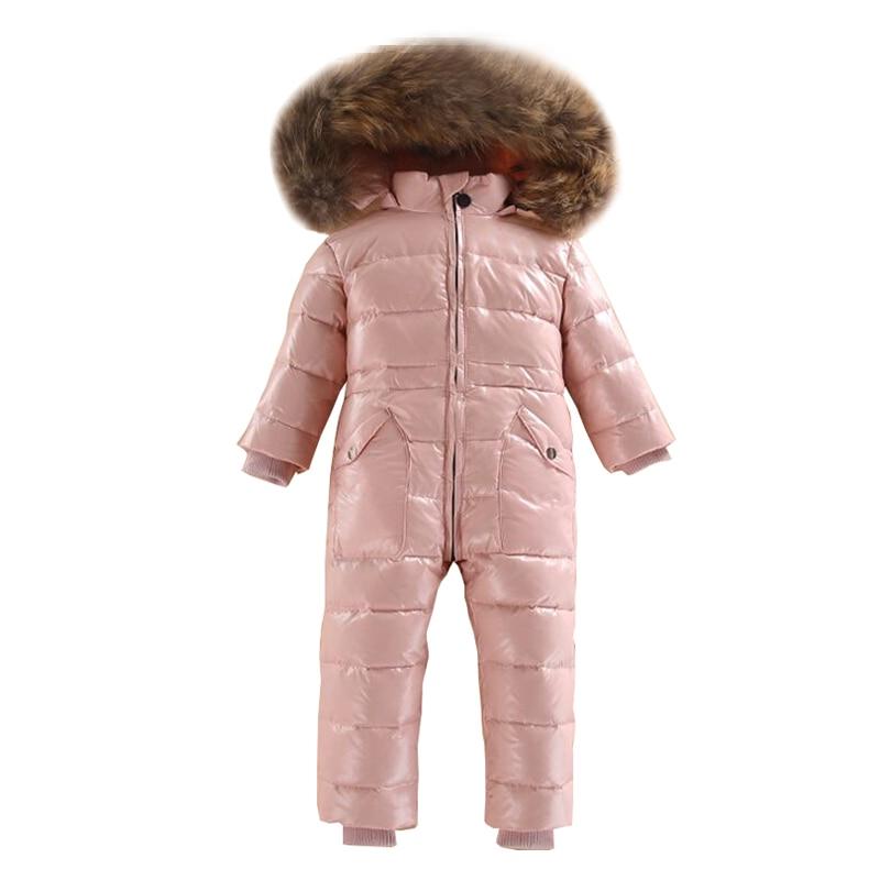 Witner Baby Girl Romper Real Fur Collar Boy Jumpsuit Waterproof Children Clothes Unisex White Duck Down Kids Onsies Snow Suits