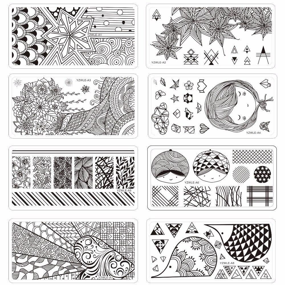 YZWLE-plantilla para estampación de uñas, modelo rectangular para decoración de uñas, 12x6cm con diseño de hojas y encaje de Origami, placa de estampación para uñas con 10 diseños