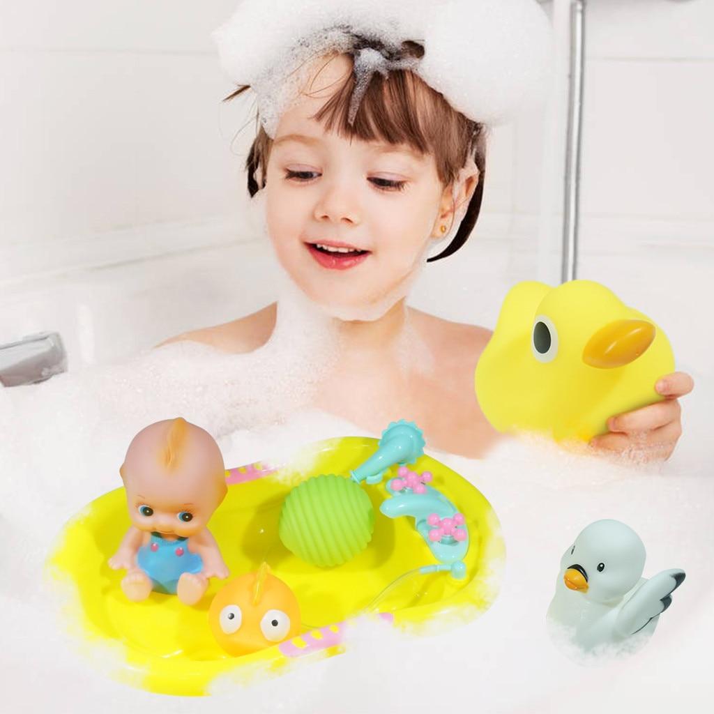 Juguetes para niños Unisex juguete de baño para bebé anillo de natación juguete de dibujos animados bonito pato amarillo conjunto bañera juguetes para niños L0627