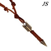 JS 2016 homme charme Antique or flèche pendentif collier longue vache en cuir corde chaîne sans collier mâle en cuir multicouche bijoux LN039