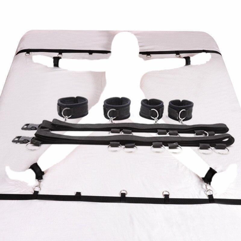 Эротические наручники для секса под кроватью БДСМ Связывание удерживающая система наручники и лодыжки комплект наручников секс-игрушки набор для взрослых Сексуальное белье