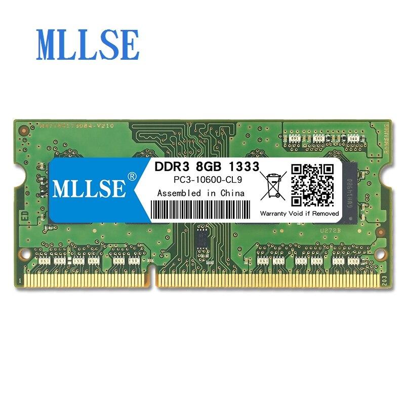 Memória ram ddr3 8 gb 1333mhz 1.5 v do portátil de mllse sodimm para o caderno PC3-10600S 204pin não-memória da ram do caderno do ecc