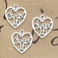8 pièces breloques coeur doux 16 21x19mm Antique faisant pendentif ajustement, couleur argent tibétain Vintage, bijoux faits main bricolage