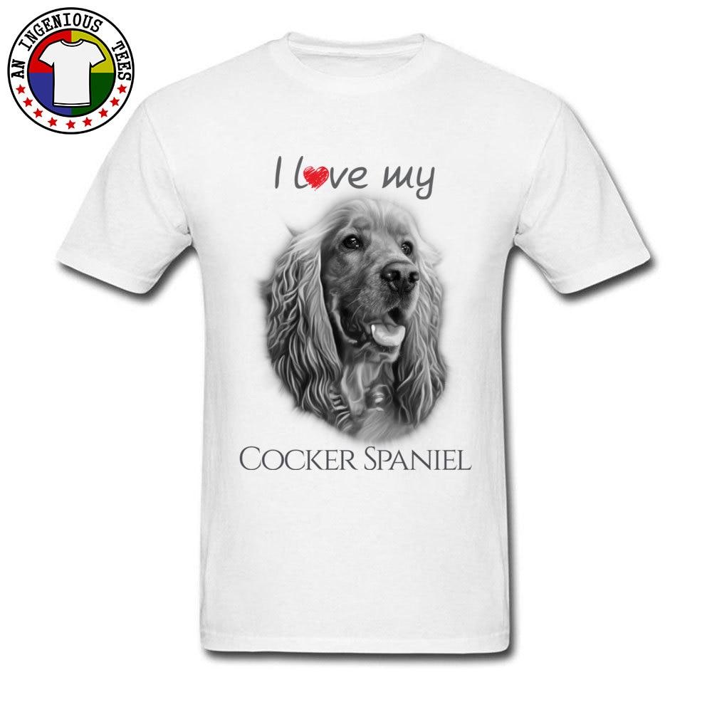 Heißer Verkauf Männer T-shirts ICH Liebe Mein Cocker Spaniel Nette Hund Grafik T-shirt Mens Tops Tees 100% Baumwolle Stoff Crew neck Trainingsanzug