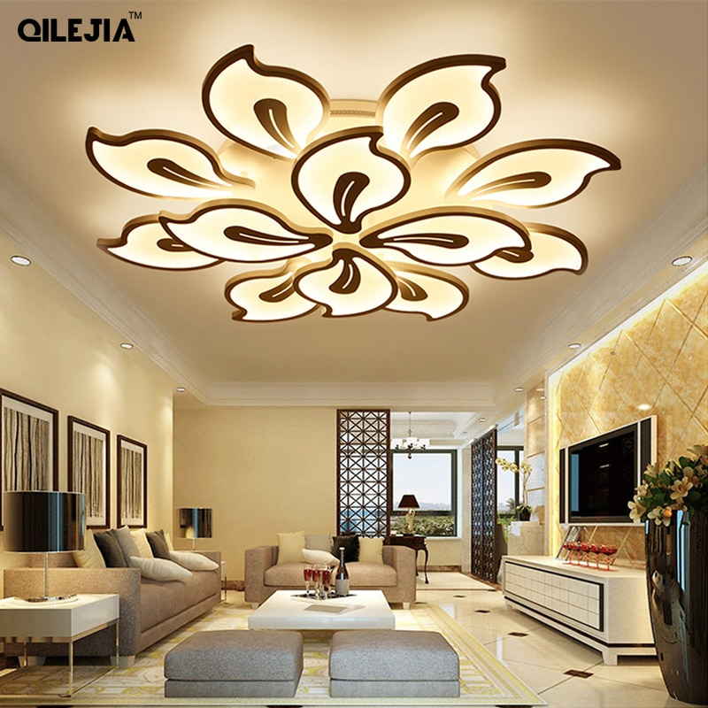 Luces de techo modernas acrílicas para sala de estar, dormitorio, lámpara led de techo pintada en blanco, accesorios de iluminación de control remoto