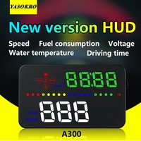 YASOKRO רכב HUD הראש למעלה תצוגה A300 HD דיגיטלי מעל מהירות OBD2 אזהרת מערכת שמשה קדמית מקרן מעורר רכב אקססוריז